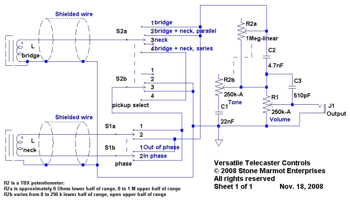versatile telecaster controls sid of stone marmot pole mounted controller wiring diagram figure 1 schematic for telecaster with versatile controls built around tbx tone control