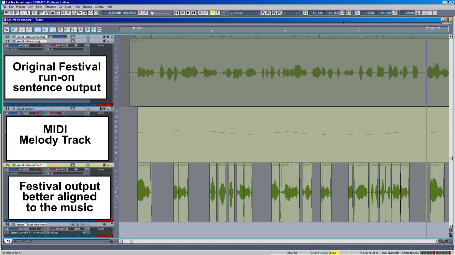 Figure 2 - Screenshot of the run-on sentence audio cut up and better aligned to the music.